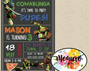 Ninja Turtle Birthday Invitation