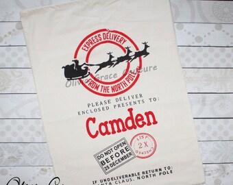 Personalized Santa Bag, Canvas Christmas Bag, Santa Sack, Christmas Present Bag, Christmas Package