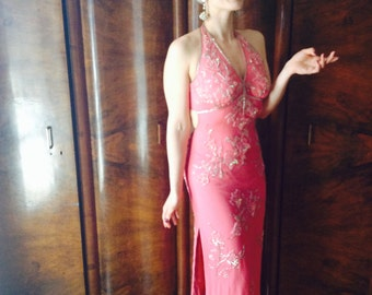 marilyn dress/vintage pink bead dress/silk dress/pink silk dress/sequins/indian dress/evening dress/beaded bohemian dress/halter dress/s