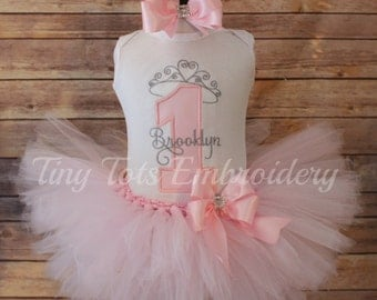 Princess Birthday Tutu Outfit ~ Includes Top, Tutu & Hair Bow ~ Customize in Any colors of your choice!