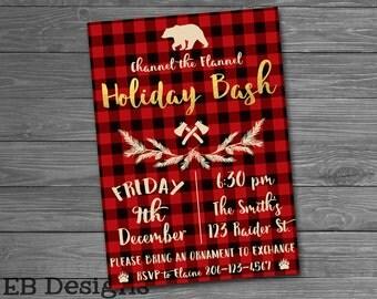 Flannel Christmas Holiday Bash Invitation