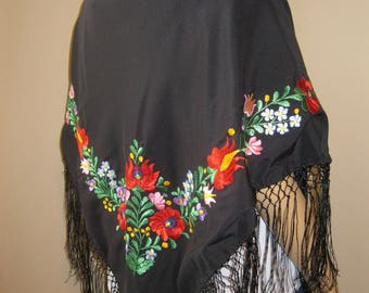 Hungarian hand embroidered Matyo Kalocsa scarf , shawl , silk hand embroidered black  ethnic shawl
