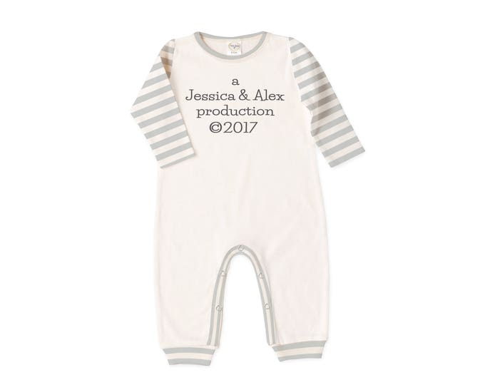 Personalized Newborn Coming Home Outfit, Newborn Boy Girl Take Home Romper, Grey Stripes, Production 2017, Tesababe RP810IYGI0408