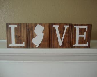 New Jersey Blocks. Home Blocks. New Jersey Decor. Home State Decor. Rustic Decor. Wood Blocks. NJ Decor. NJ Blocks. Love Blocks