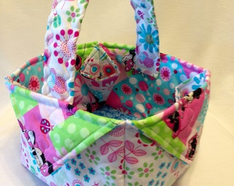 Minnie Mouse Spring Flower Quilted Fabric Basket, Minnie Mouse Quilted Basket, Tote, Gift Basket, Gift Bag, Decorative Basket, Storage