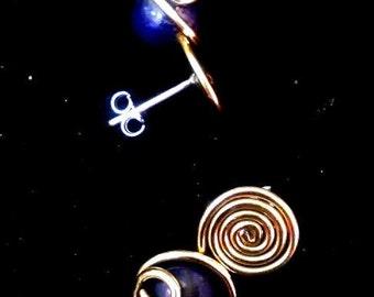 ORECCHINI LAPISLAZZULI ARGENTO, Artigianali Eleganti Pietre Naturali Lovely Gifts, Orecchini Lapislazzuli Ottone Rame Hand Made Dono d Amore