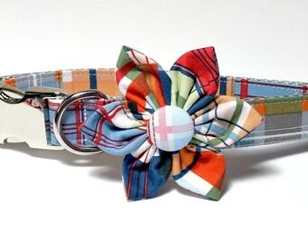 Coastal Plaid Collar Flower set, preppy, metal hardware, wedding flower, pet collar flower, collar flower