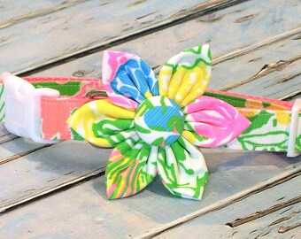 Lilly Pulitzer Hibiscus Stroll Dog Collar Set, flower for dog collar, wedding flower, pet collar flower, collar flower