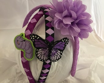 headband- headband for girl- butterfly gift- caterpillar- first birthday- purple butterfly- purple headband- hair accessory- gift for girl