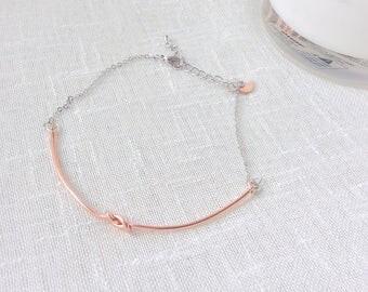 Wedding bracelet, tie the knot bracelet, bridesmaids bracelets, anniversary bracelet, rose gold bracelet, wedding jewlery