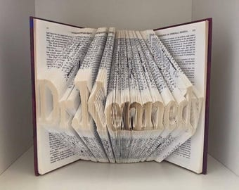 Any 9 letters Folded book art- Unique folded book art custom made with a word of your choice- see item details section for more info.