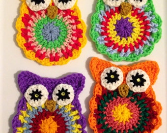 Crochet PATTERN - Owl Coasters; Owl Crochet Pattern; Crochet Owl Coaster Pattern; PDF download