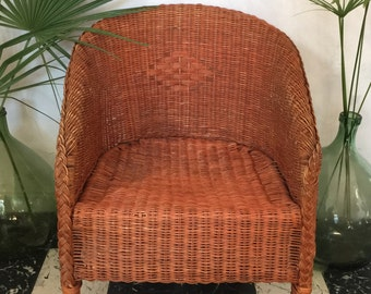 Vintage rattan chair terra cotta