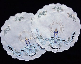 Vintage embroidered Christmas doilies set of two