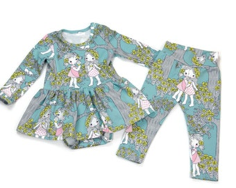 Baby Girls Outfit - Short or Long Sleeve Bodysuit Dress & Leggings - vintage pink floral baby girl clothes for Summer  - newborn to 3t