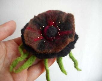 Felt Flower ,Felt brooch,Black,red, brown felt flower brooch, brown flower,wool pin,art,hair clip brooch, accessories,pink black rose brooch