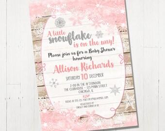 Snowflake Baby Shower Invitation, Winter Baby Shower Invitation, holiday Baby Shower Invite, silver, pink, Printable Baby Shower Invitation