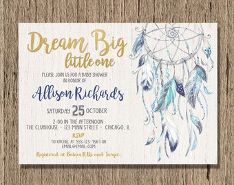 dreamcatcher Baby shower invitation boy, boho baby shower invite, tribal aztec dream catcher baby boy rustic dream big printable digital