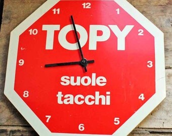 Vintage  French/Italian wall clock with publicity Suole tacchi  (electric)/ 1980's vintage clock