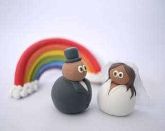 Custom Bride and Groom Wedding Cake Topper (With or Without Rainbow)