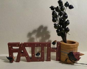 Faith and bucket of berrys