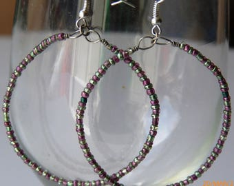 Seed Bead Hoops / Handmade Color Hoops