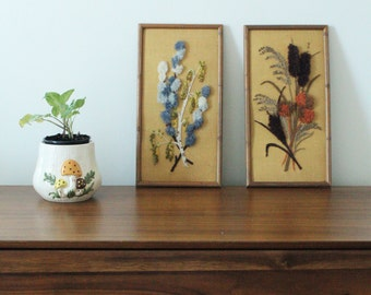 CLEARANCE // Vintage 1970's Flower Wheat Embroidery in Bamboo Style Frame