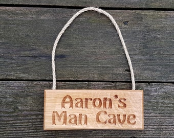 "Oak ""Man Cave"" Hanging Sign - Personalised Engraved Wood Name Plates & Plaques, House Sign, Garden Sign, Door Sign, Bedroom Sign, Shed Sign"