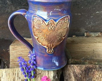 11.5 Ounce - Fairy Mug - Grape Hyacinth Glaze - Wheelthrown Pottery