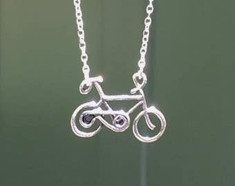 Gift for bicycle enthusiast, Bicycle necklace, biker jewelry sterling silver bicycle, spring gift, Mother's Day gift