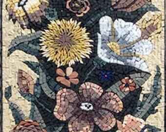 Floral mosaic tiles
