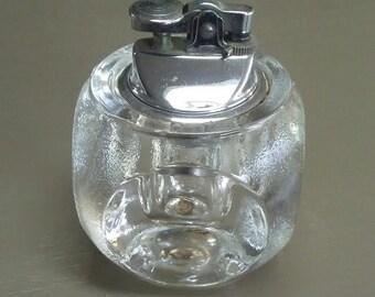 Vintage Glass Lighter Table Lighter Tobacciana Mid Century(MCM) Lighter Hollywood Regency Lighter Home Decor Bar Decor Mancave Decor