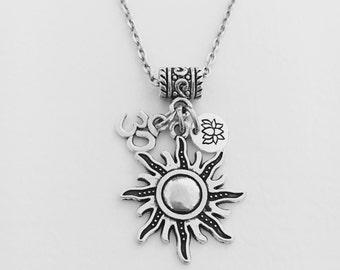 Sun necklace/Yoga jewelry/zen jewelry/Om necklace/spiritual jewelry/ohm/ meditation/yoga/lotus flower jewelry