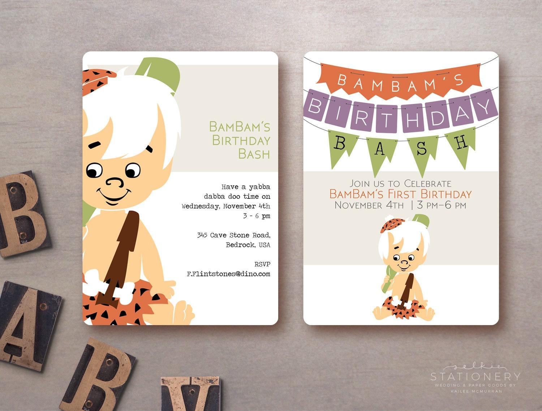 BamBam Birthday Bash Invite Flintstones Customizable Digital