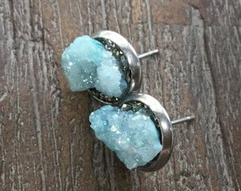 Druzy Agate With Pyrite Earrings/Blue Druzy/Modern Boho/Crushed Pyrite/Stud Earrings/Surgical Steel
