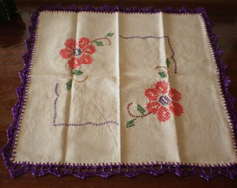 Tortilla Warmer - Handmade Cross Stitch Embroidered  - Mexican vintage inspired - Cloth Bread Warmers - Cloth napkin / Purple Border