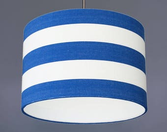 Royal Blue And White Deckchair Stripe Cotton Fabric Drum Lampshade Pendant