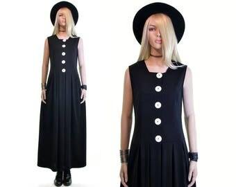 delusions of optimism pilgrim dress 90s goth minimalist gothic dress witch dress vintage 90s dress grunge dress boho dress black maxi dress