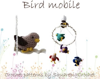 Crochet pattern for Baby bird mobile with musicbox
