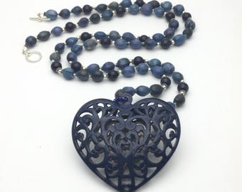 Statement jewelry blue necklace long navy blue beaded necklace heart pendant blue romantic gift for her beaded necklace dark blue