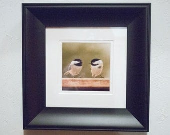 12 x 12 Framed Pair of Chickadees (Pick Up Only)