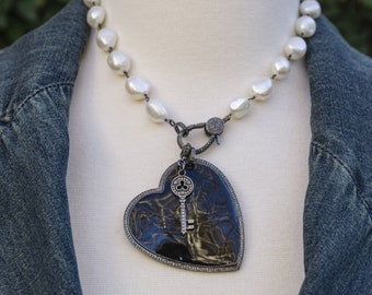 Enamel Pave Diamond Heart Pendant - White Pearl Necklace - Enamel Heart Pendant - Pave Diamond Pendant - Diamond Key - Statement Necklace