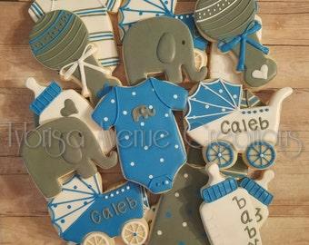 12 Baby Elephant Sugar Cookies - Baby Boy Sugar Cookies - Baby Boy Baby Shower Favors - Elephant Baby Shower Cookies - Elephant Cookies