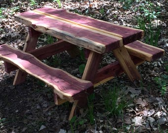 Toddler's Live Edge Cedar Picnic Table - Littles Picnic Table - Poverty Gulch Rustics -