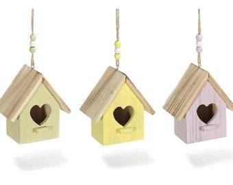 Birdhouses Painted Wood Set of 3
