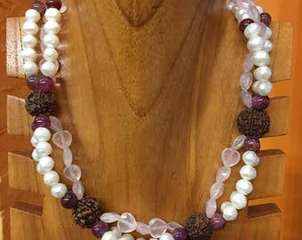 Freshwater pearls, Rose Quartz, Tourmaline and Rudrashka seed, three strand necklace