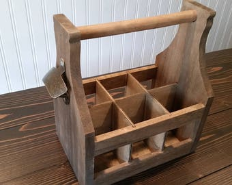 Wooden Bottle Caddy With Opener