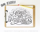Great Is Thy Faithfulness SVG Cut File, Bible Verse SVG, Lamentations 3:23, Hymn Lyrics, Silhouette SVG, Cricut Download, God Is Great