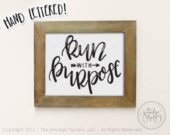 Run Printable, Run With Purpose, 1 Corinthians 9:26, Bible Verse Print, Bible Verse Printable, Corinthians Print, Christian DIY Wall Art