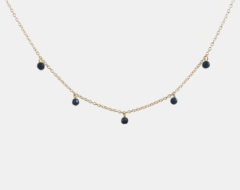 STARDUST ⋯ Dainty Blue Goldstone Faceted Throat Chakra Gold Silver Droplet Choker